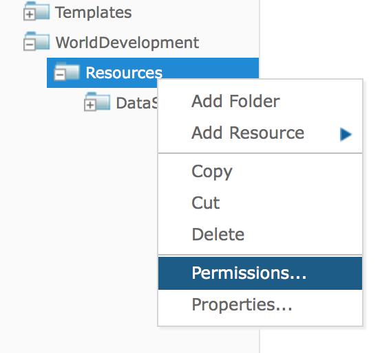 Permissions contextual menu