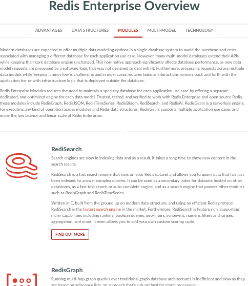 Redislabs modules page